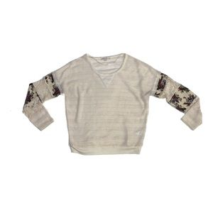 Miss Me floral striped crew neck sweater